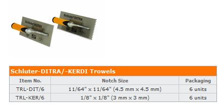 1//8 in x 1//8 in Square Notch SCHLUTER KERDI TROWEL