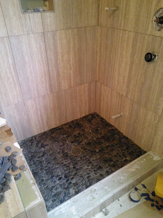 Attached Images. Grouting pebble floor in a steam shower   Ceramic Tile Advice