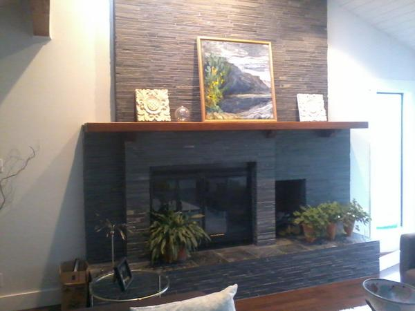 First Timer Looking To Put Stacked Slate Over Brick Fireplace Ceramic Tile Advice Forums John Bridge