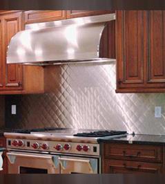 Metal Quilted Backsplash Or Metal Tiles Kitchen