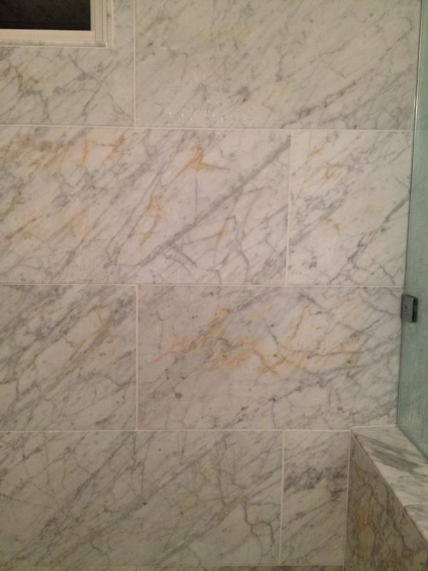 Rust Color Showing Up In Carrara Marble Ceramic Tile Advice Forums