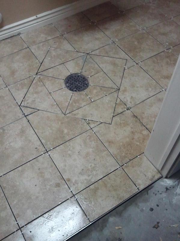 Install Tile On Sloped Floor With Drain, Vinyl Plank Flooring Basement Drain