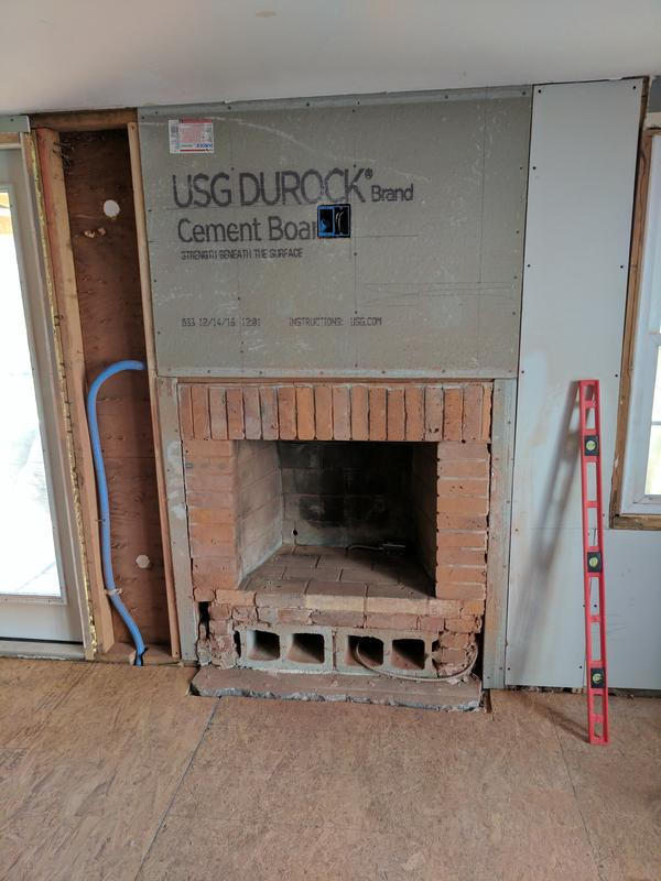Stacked Stone Over Brick Fireplace Ceramic Tile Advice Forums