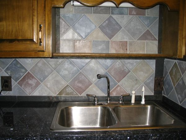 Counters Are Blue Pearl Field Tiles Dal French Quarter Cobblestone And The Framing Borders Slate There More Pictures In My Island Countertop