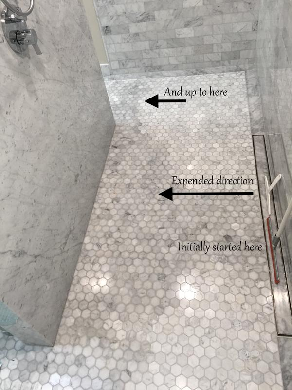 Carrera Tile Shower Floor With Large Gray Area Ceramic