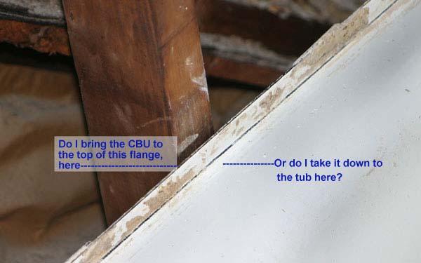 does the cbu go over tub flange ceramic tile advice forums john bridge ceramic tile. Black Bedroom Furniture Sets. Home Design Ideas
