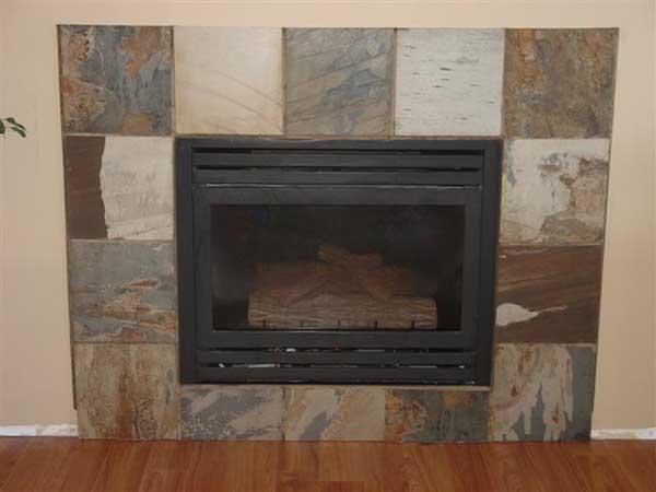 how to set slate around a gas fireplace ceramic tile