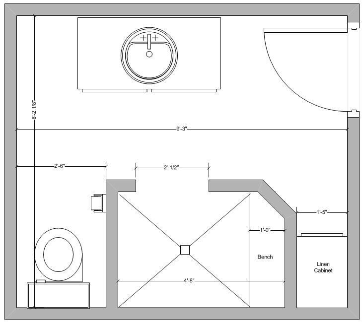Kerdi shower kit total remodel of my existing bathroom for Small bathroom design 6x6