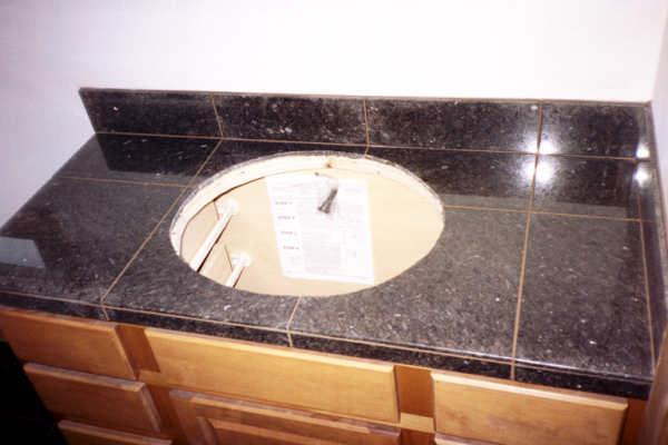Edge trim for granite tile on bathroom counter ceramic - Ceramic tile bathroom countertops ...