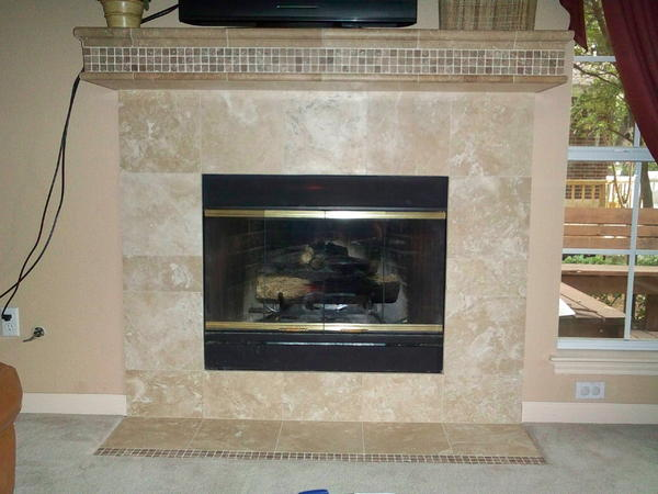 Brilliant Travertine Tile Fireplace Surround Inside Decor