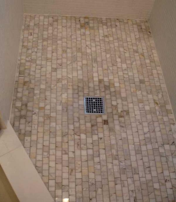 Tile For Shower Floor from hellolovelycom an in progress shower tiled in a carrara marble herringbone Attached Images
