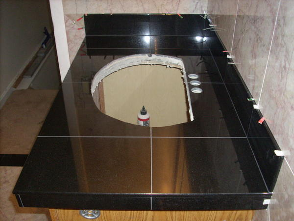 Tile countertop and porcelain undermount sink ceramic - Ceramic tile bathroom countertops ...