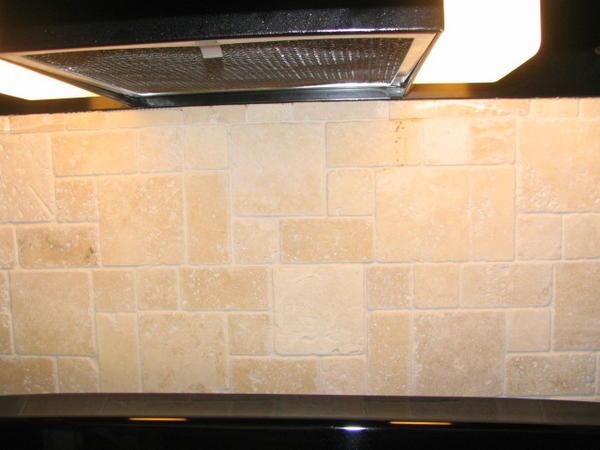 range travertine backsplash discolored ceramic tile