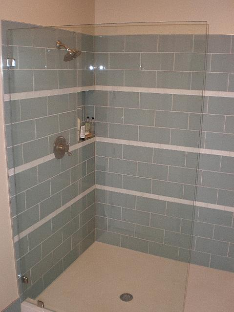 Large 12x12 Glass Tile In A Shower Ceramic Tile
