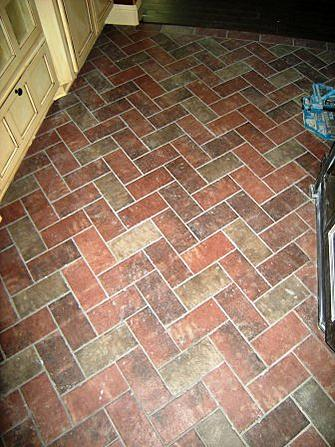Brick veneer on family room floor ceramic tile advice for Brick veneer floor