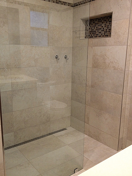 Name No Curb Linear Drain Tile Shower Tampa Florida 19