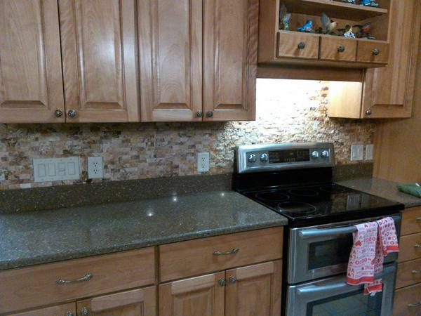 Recessing Outlet Covers On Stacked Stone Backsplash