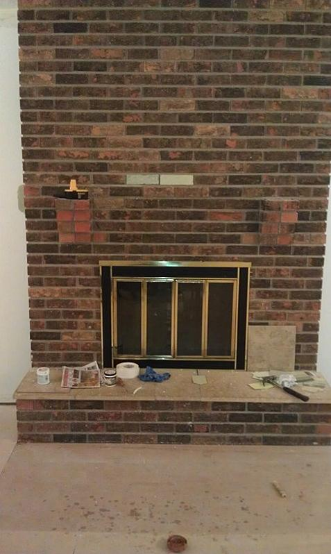 Mark 39 s tile over brick fireplace project ceramic tile - Covering brick fireplace with tile ...