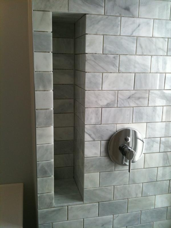 3 16 Quot Grout Lines In Polished Marble Subway Tiles
