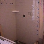 7.  Wall tiles are installed.  When this is completed, the walls will be grouted.