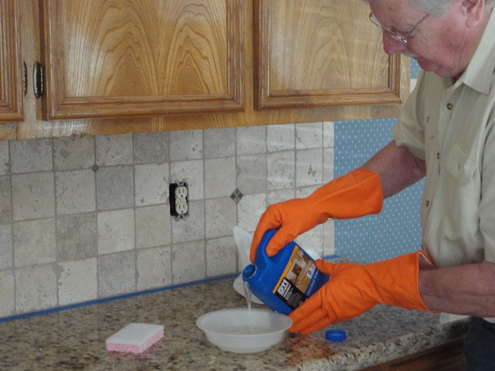 How to seal a stone tile backsplash using miracle 511 impregnator pour a couple ounces of sealer into the container tyukafo