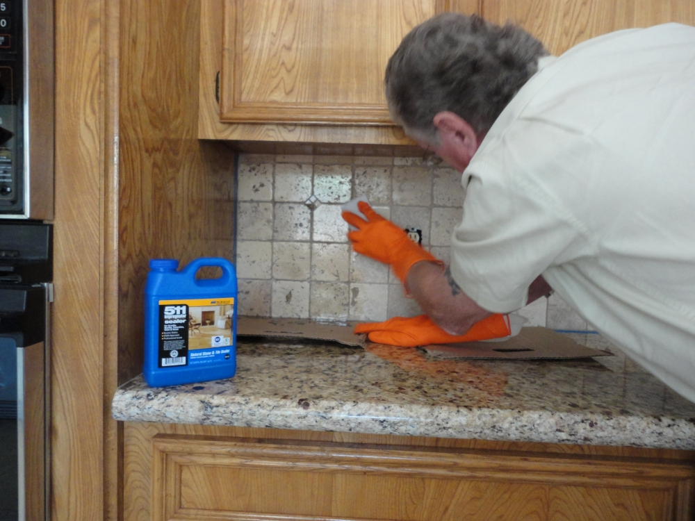 How to seal a stone tile backsplash using miracle 511 impregnator apply product evenly tyukafo