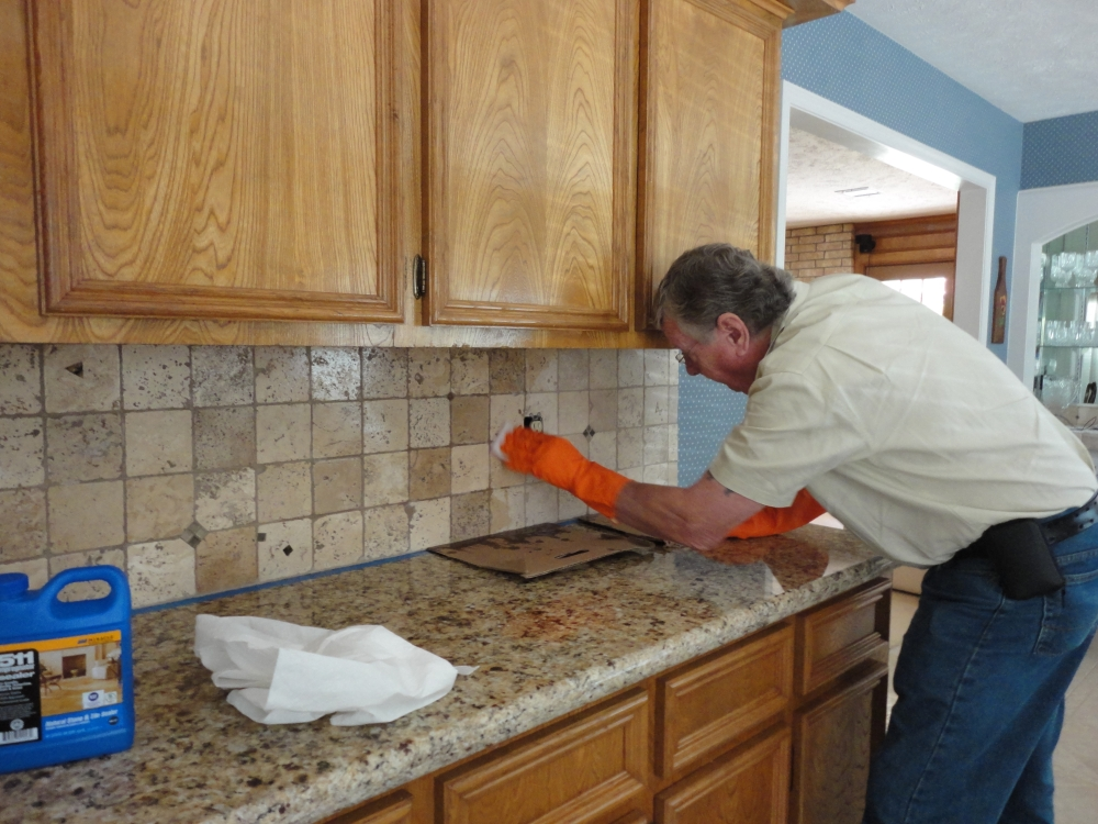 How to seal a stone tile backsplash using miracle 511 impregnator applying sealer around a recepticale box tyukafo