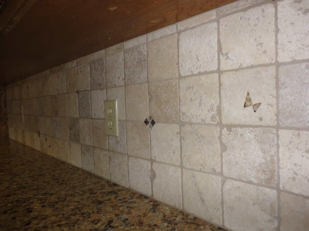 How to seal a stone tile backsplash using miracle 511 impregnator view of backsplash from end tyukafo