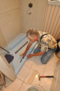 Durock Shower Floor is installed with thinset mortar.