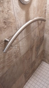 TileWare grab bar installed in shower.